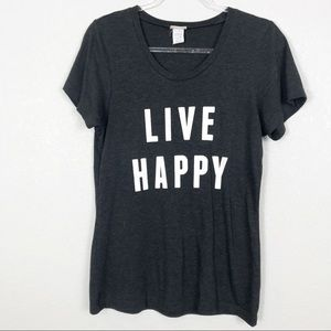 Live Happy Natural Life Gray quote graphic tee